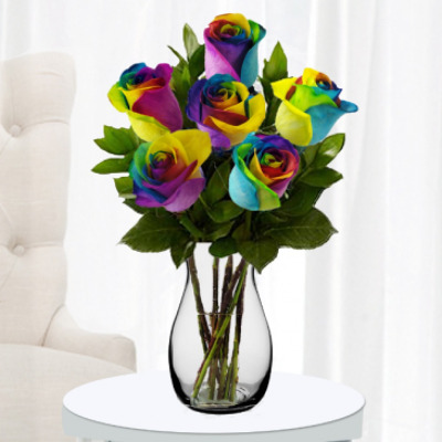 Rainbow Rose Half Dozen from Forever Flowers, flower delivery in St. Thomas, VI