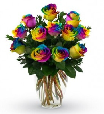 Rainbow Rose Dozen from Forever Flowers, flower delivery in St. Thomas, VI